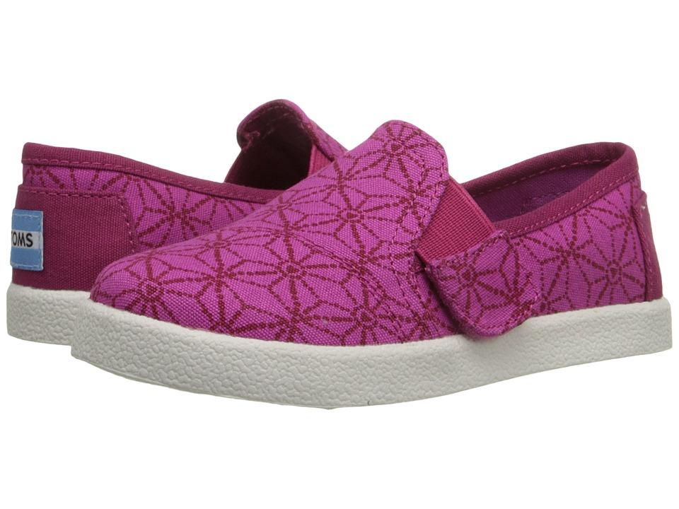 TOMS Kids Avalon Slip On Infant/Toddler/Little Kid Pink Canvas Batik Hearts Kids Shoes