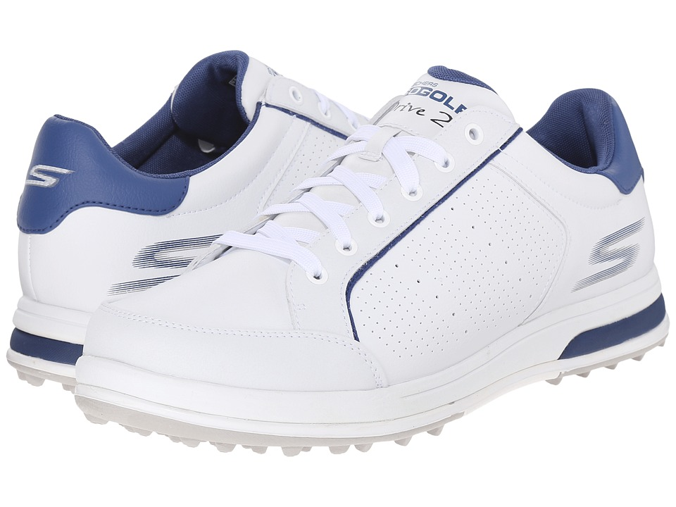 SKECHERS Performance Go Drive 2 White/Navy Mens Shoes