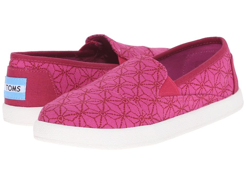 TOMS Kids Avalon Slip On Little Kid/Big Kid Pink Canvas Batik Hearts Kids Shoes