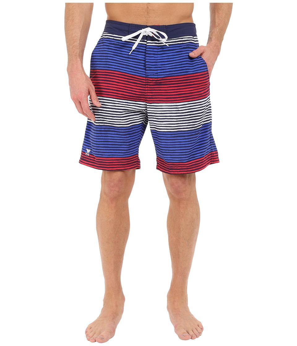 TYR Apollo Jetty Stripe Apollo Swim Shorts Red/White/Blue Mens Swimwear