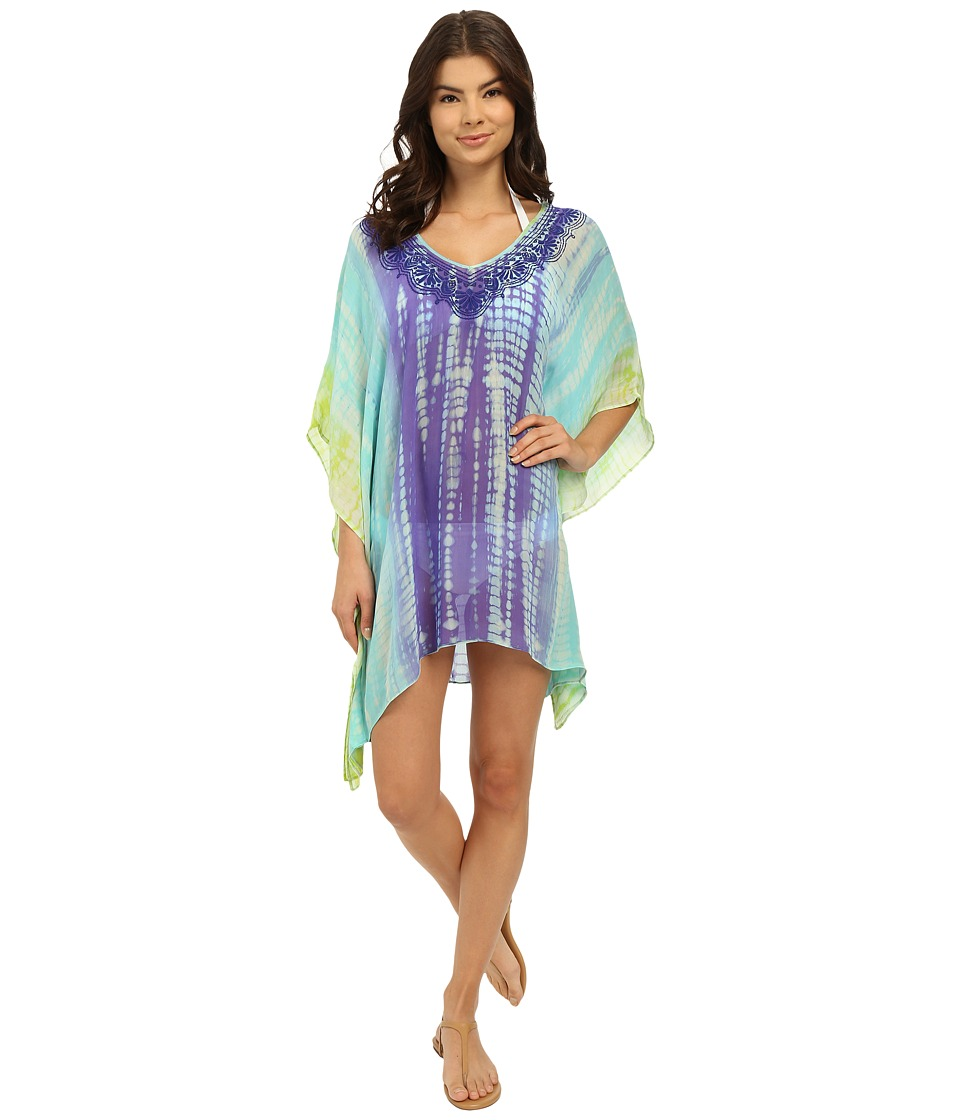 Trina Turk Nomad Tie Dye Tunic Cover Up Turquoise Womens Swimwear