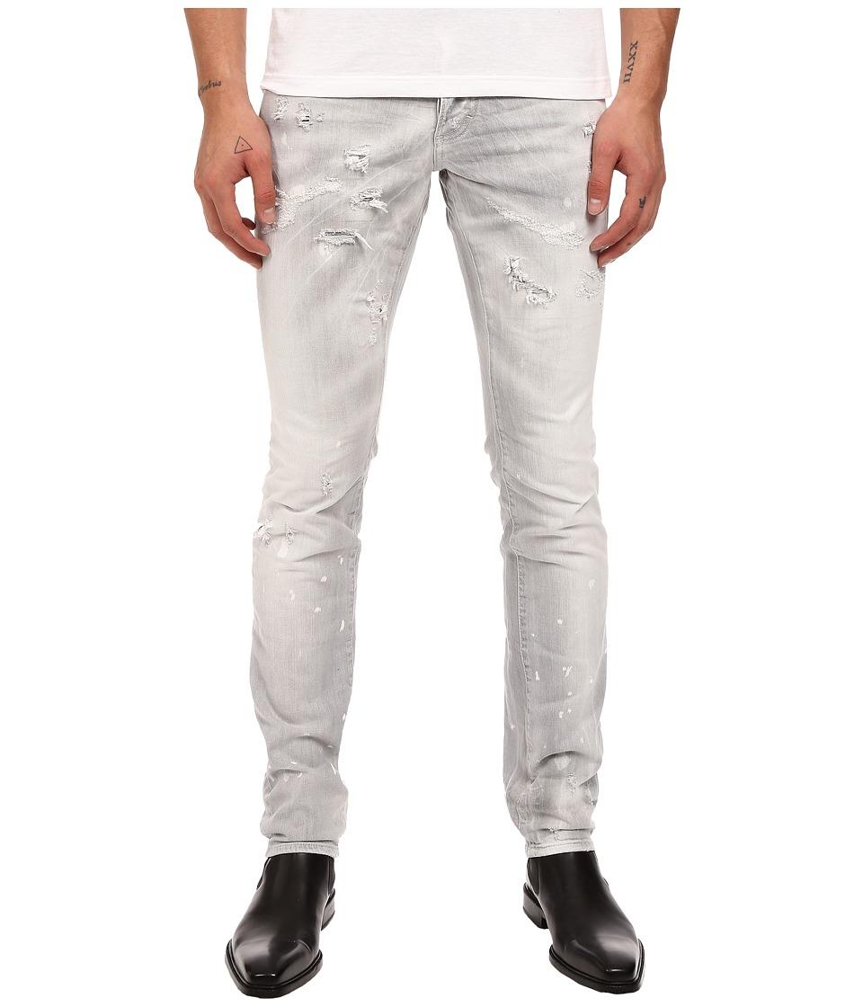 DSQUARED2 Slim Stretch Dark Techno Japan Denim in Grey Grey Mens Jeans