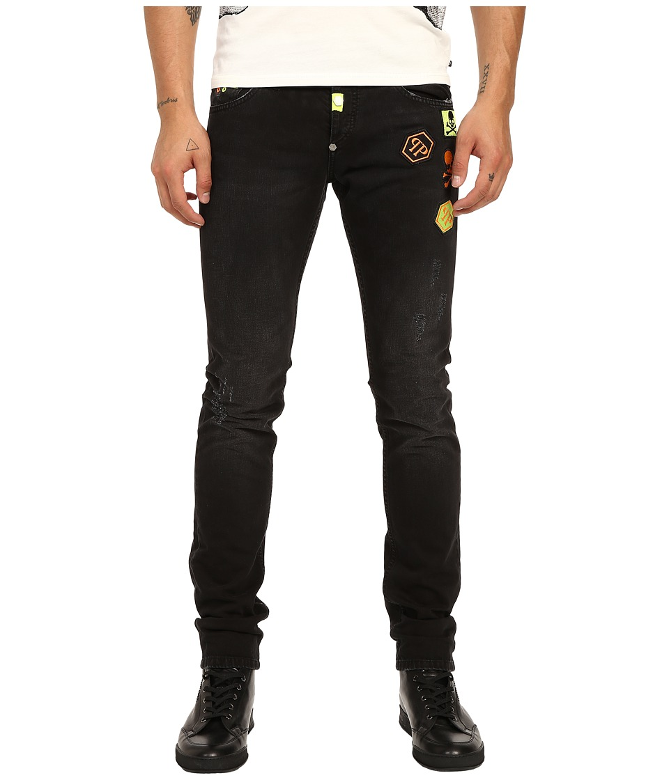 Philipp Plein Fierce Straight Cut Denim in Black Friday Black Friday Mens Jeans
