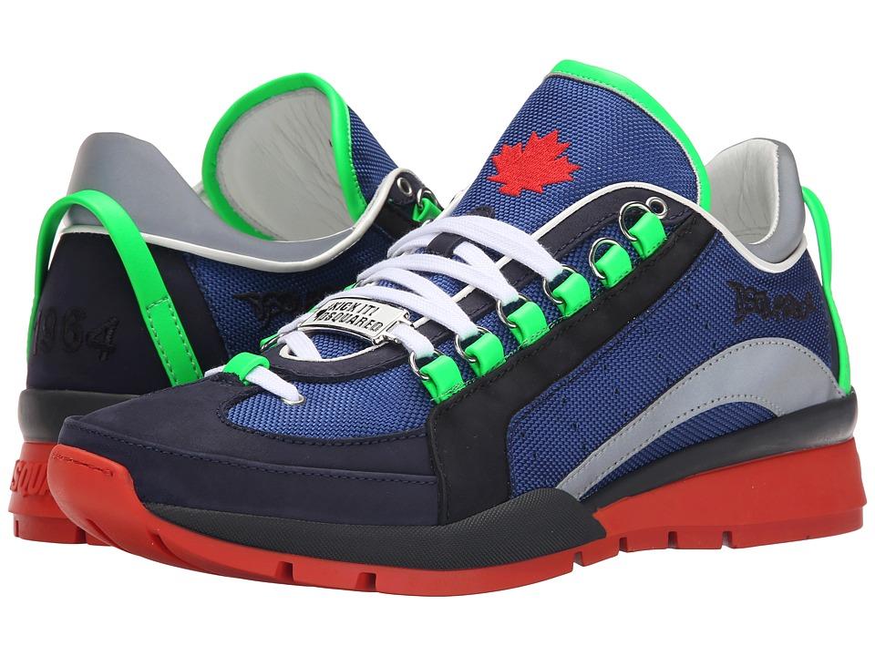 DSQUARED2 551 Nylon Sneaker Blue/White/Green Mens Shoes