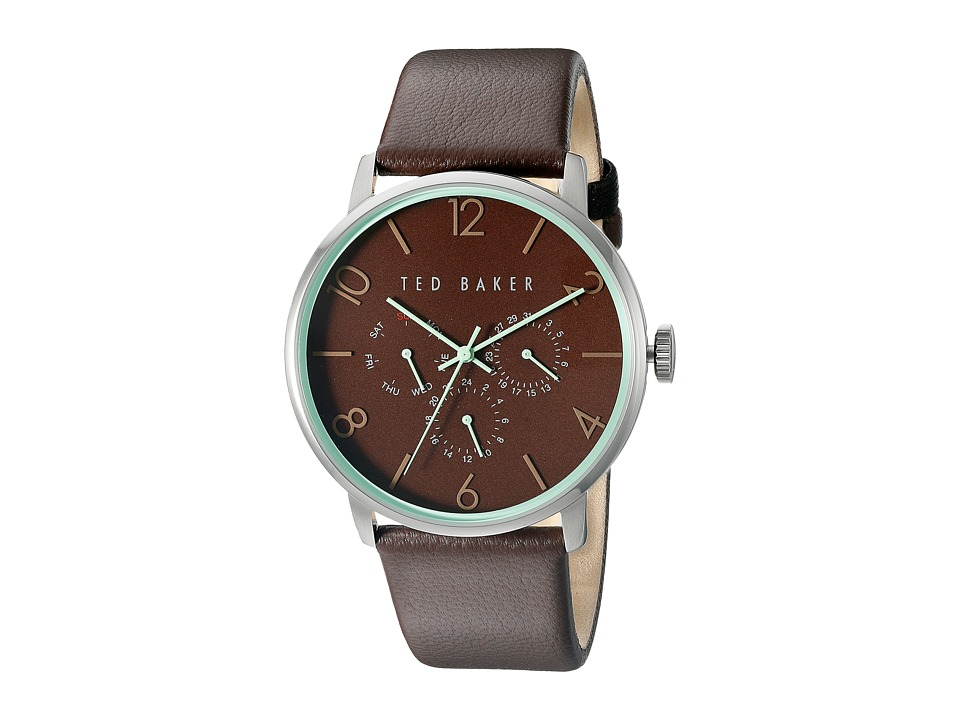 Ted Baker Classic Collection Custom Multifunction Sub Eye w/ Contrast Detail Date Leather Strap Watch Brown Watches