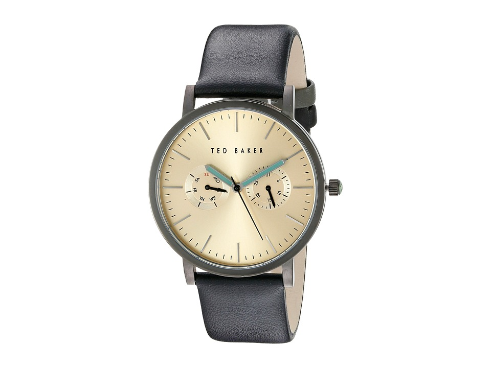 Ted Baker Classic Collection Custom Multifunction Sub Eye w/ Contrast Detail Date Leather Strap Watch Gold Watches