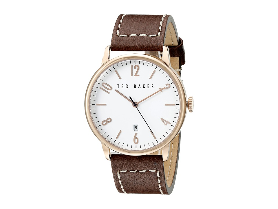 Ted Baker - Modern Vintage Collection Custom Leather Strap Date Watch (White) Watches