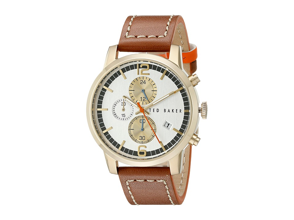 Ted Baker Vintage Collection Custom Chronograph Date Leather Strap Watch Gold Watches