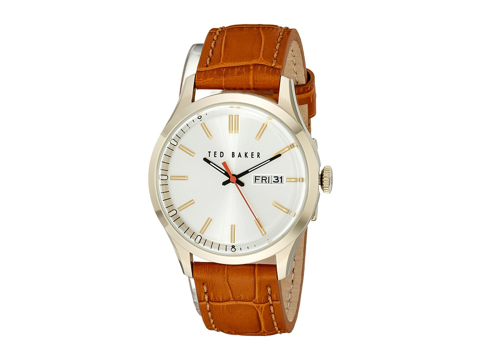Ted Baker Dress Sport Collection Custom Leather Strap Day/Date Watch Gold Watches