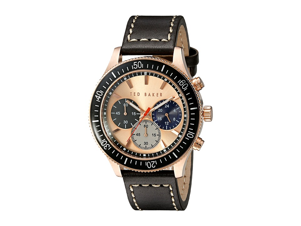 Ted Baker Dress Sport Collection Custom Chronograph Date Leather Strap Watch Rose Gold Watches