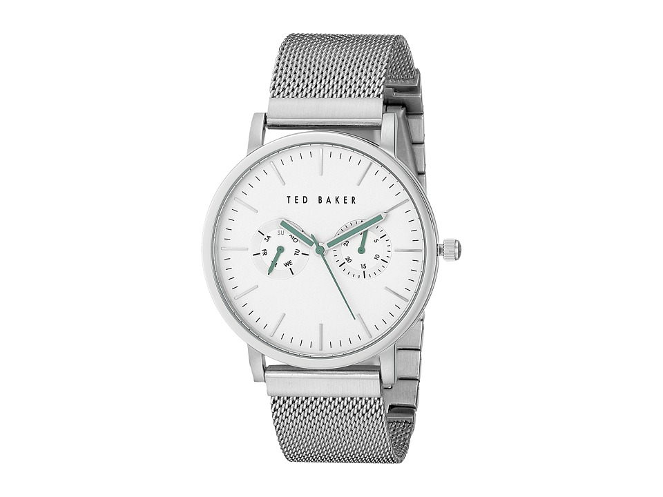 Ted Baker - Smart Casual Collection Custom Multifunction Sub-Eye w/ Contrast Detail Date Mesh Bracelet Watch (Silver) Watches