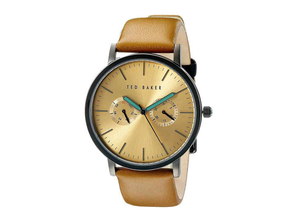 Ted Baker - Smart Casual Collection Custom Multifunction Sub-Eye w/ Contrast Detail Date Leather Strap Watch (Gold) Watches