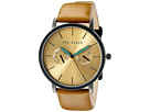 Ted Baker - Smart Casual Collection Custom Multifunction Sub-Eye w/ Contrast Detail Date Leather Strap Watch