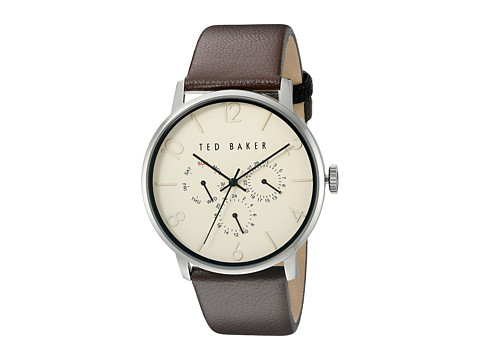 Ted Baker Classic Collection Custom Multifunction Sub-Eye w/ Contrast Detail Date Leather Strap Watch - Beige