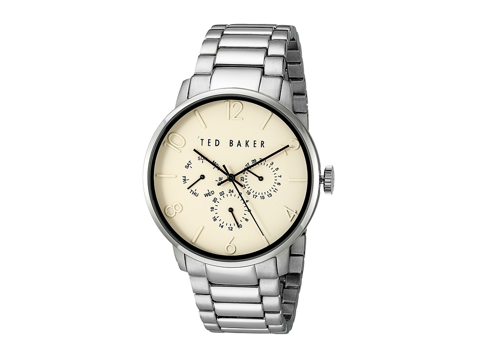 Ted Baker Classic Collection Custom Multifunction Sub Eye w/ Contrast Detail Date Link Bracelet Watch Beige Watches