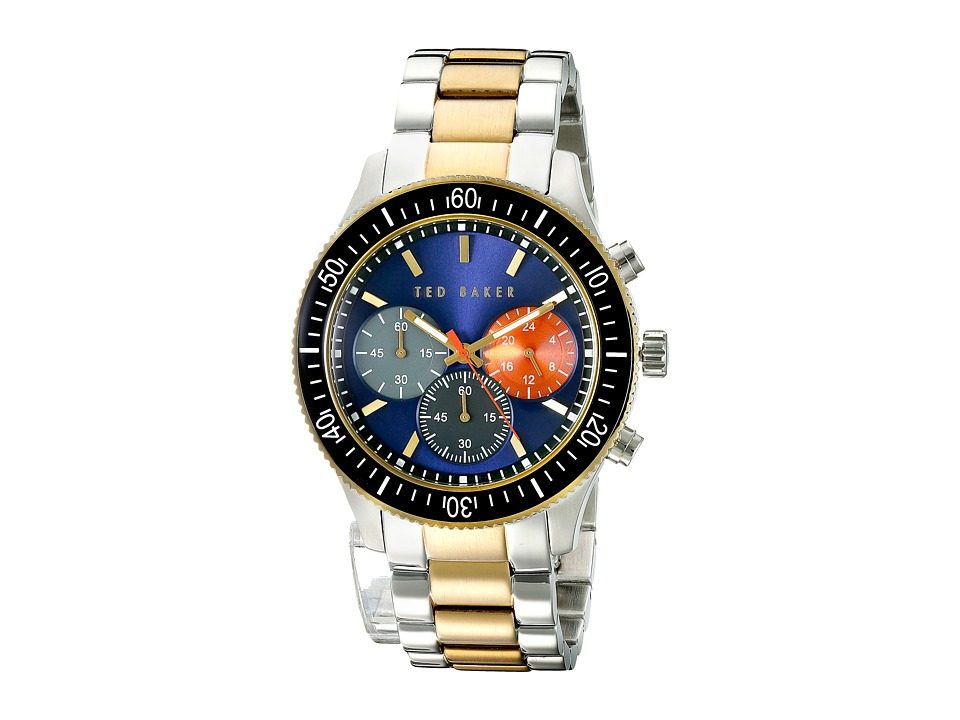 Ted Baker Dress Sport Collection Custom Link Bracelet Chronograph Date Watch Blue Watches