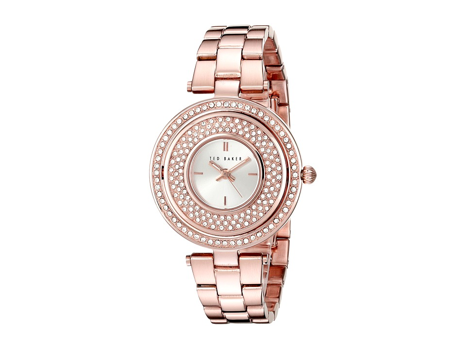 Ted Baker Modern Vintage Collection Custom Flip Case Jewel Link Bracelet Watch Rose Gold Watches