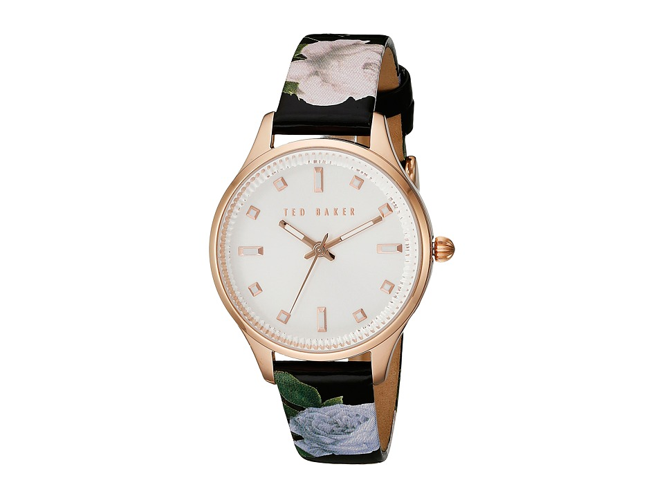 Ted Baker Classic Charm Collection Custom Leather Strap Watch Rose Gold Watches