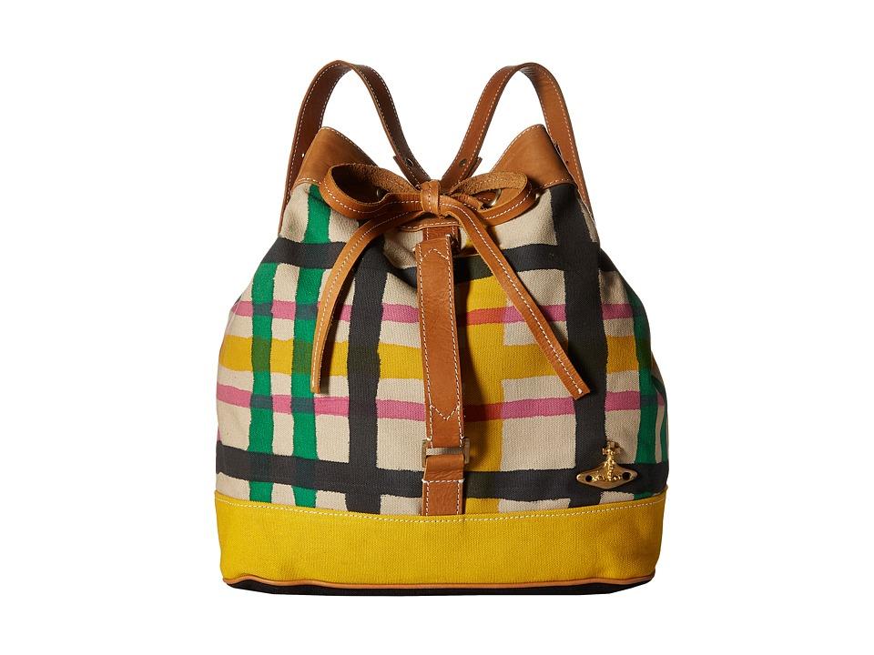 Vivienne Westwood Africa Handpainted Tartan Duffel Bag Beige/Tartan Duffel Bags