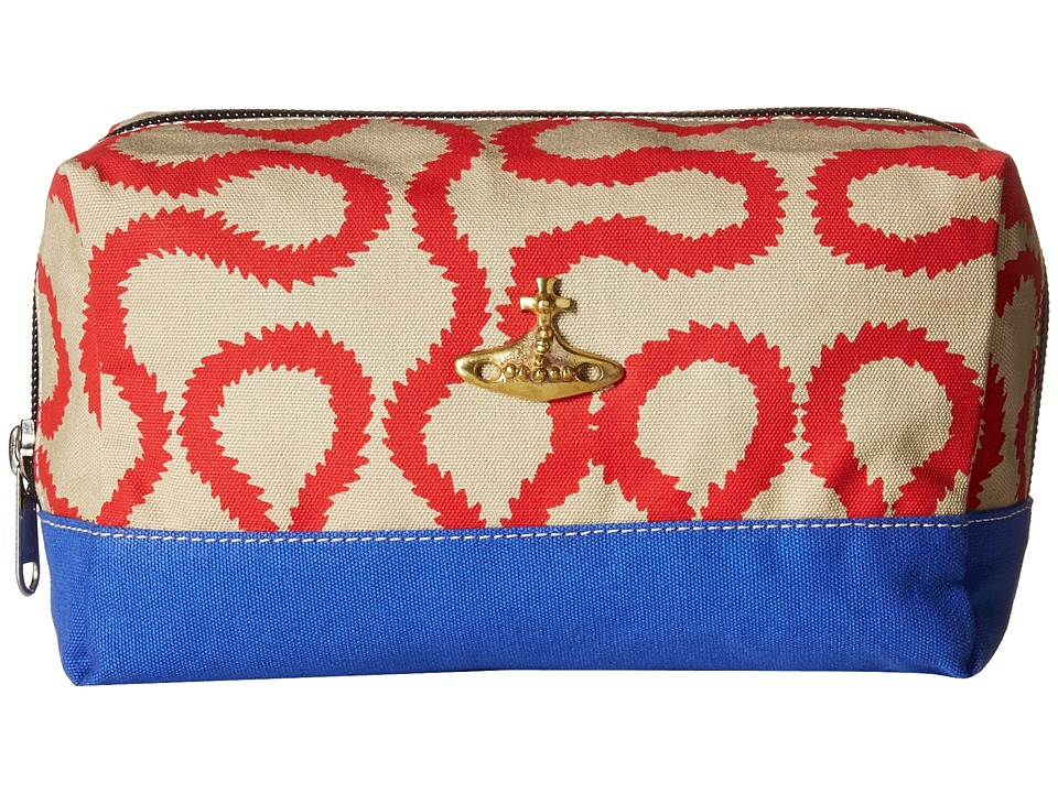 Vivienne Westwood Africa Squiggle Washbag Beige/Red Squiggle Travel Pouch