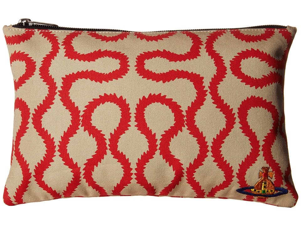 Vivienne Westwood Africa Squiggle Zip Pouch Beige/Red Squiggle Travel Pouch
