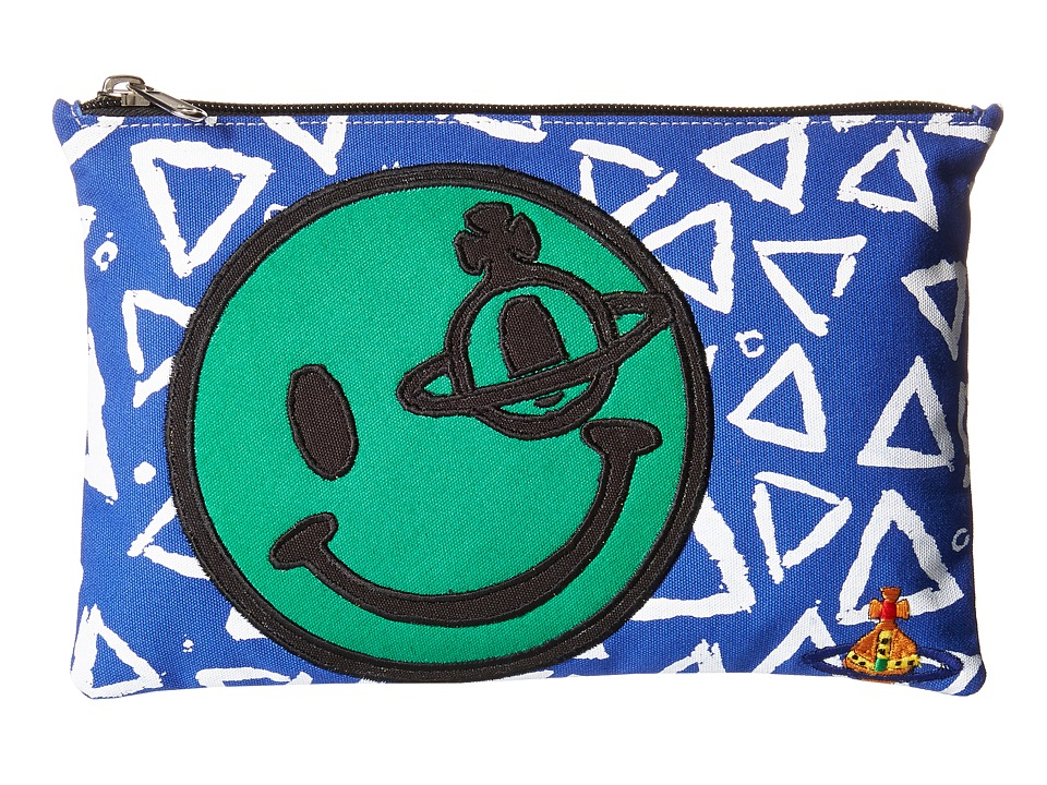 Vivienne Westwood Africa Smiley Zip Pouch Green/Blue Travel Pouch