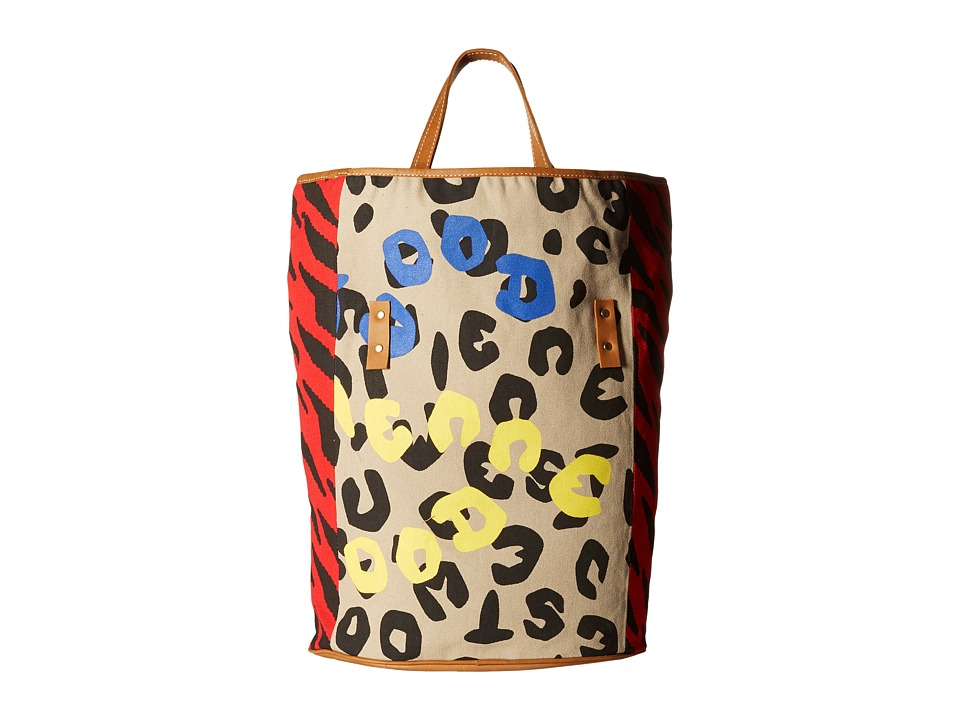 Vivienne Westwood - Africa Fold Leopard/Tiger Shopper (Blue/Yellow/Red) Tote Handbags