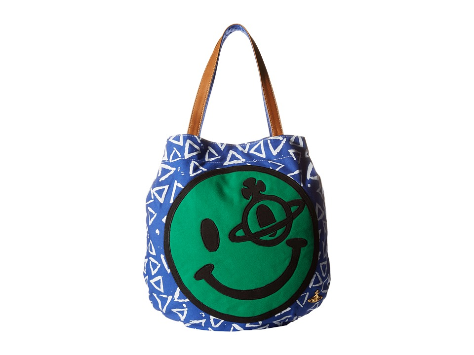Vivienne Westwood Africa Smiley Shopper Green/Blue Tote Handbags