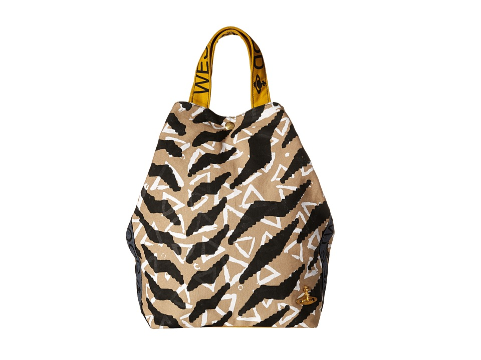 Vivienne Westwood - Africa Tiger Triangle Runner Tote Bag (Grey/Black) Tote Handbags