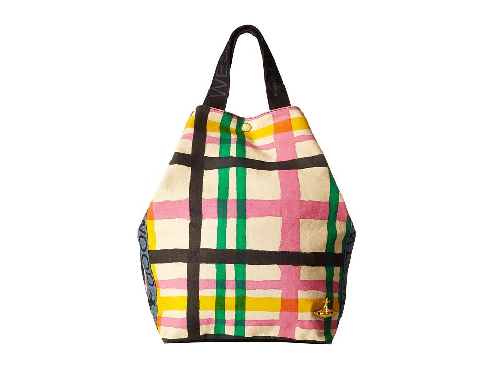 Vivienne Westwood Africa Handprinted Tartan Tote Beige/Tartan Tote Handbags