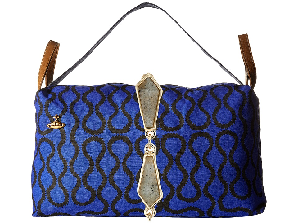 Vivienne Westwood Africa Large Shopper Bag Blue Squiggle Tote Handbags