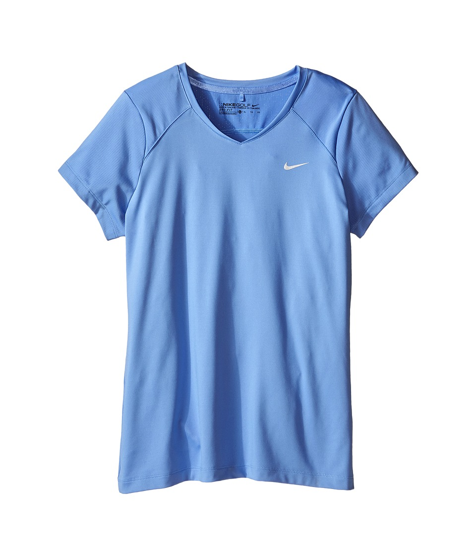 Nike Kids Greens Top Little Kids/Big Kids Chalk Blue/Metallic Silver Girls Short Sleeve Pullover