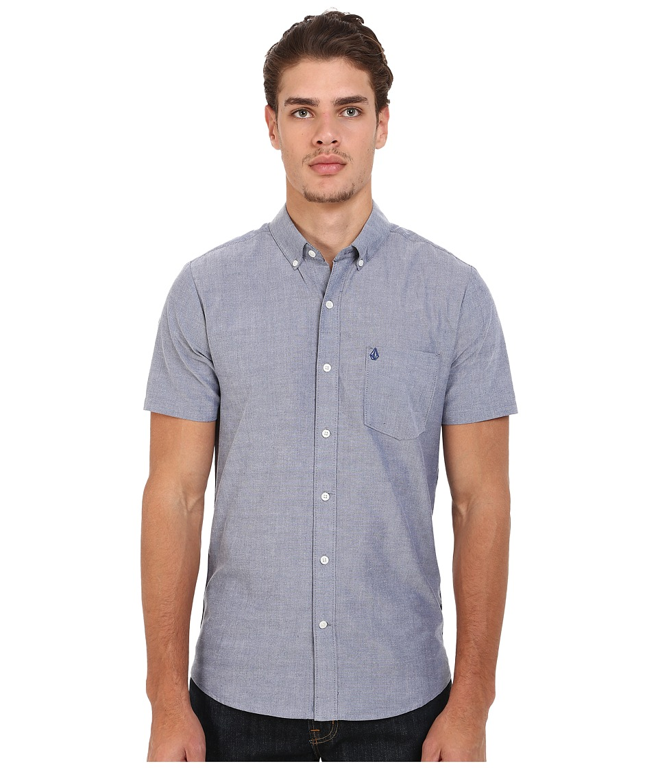 Volcom Everett Oxford Short Sleeve Woven Matured Blue Mens Short Sleeve Button Up