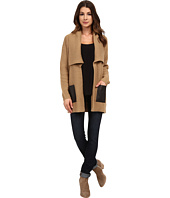 MICHAEL Michael Kors - Long Sleeve Leather Pocket Sweater Coat