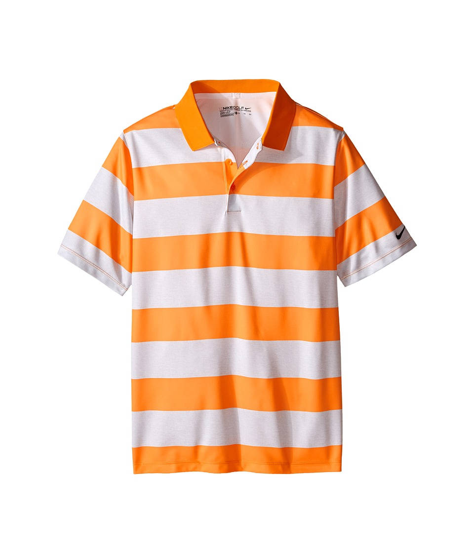 Nike Kids Bold Stripe Polo Little Kids/Big Kids Vivid Orange/White/Vivid Orange Boys Short Sleeve Pullover