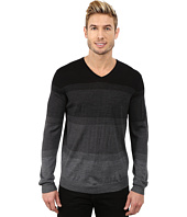 Calvin Klein - Merino Acrylic Simple Ombre Striped V-Neck Sweater