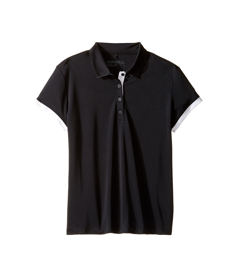 Nike Kids - Victory Polo (Little Kids/Big Kids) (Black/White/White) Girls Short Sleeve Knit