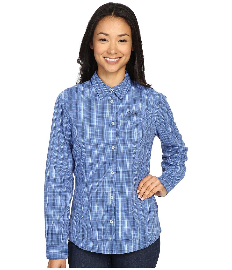 Jack Wolfskin Centaura Flex Shirt Peacock Blue Checks Womens Clothing