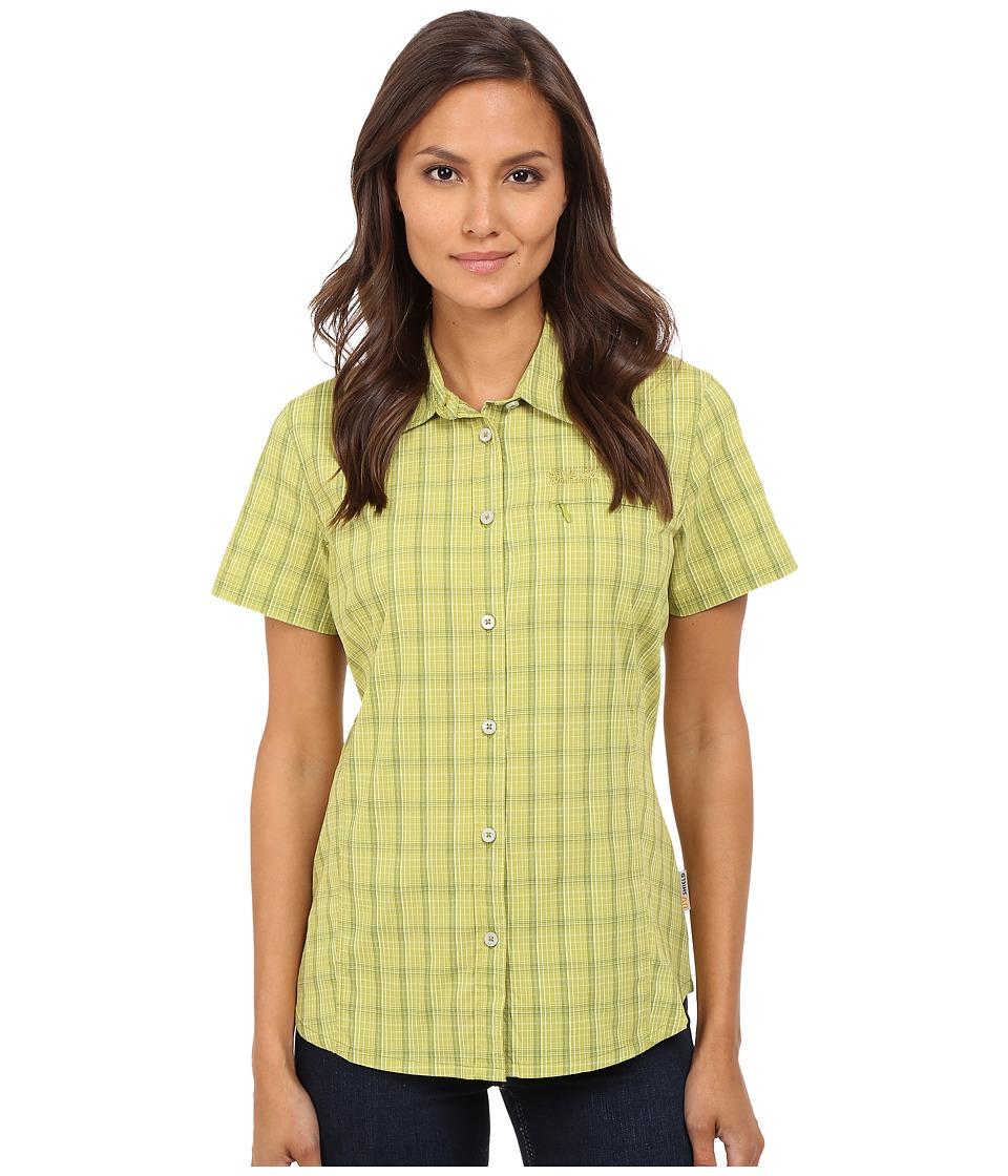 Jack Wolfskin Centaura Stretch Vent Shirt Green Guacamole Checks Womens Clothing