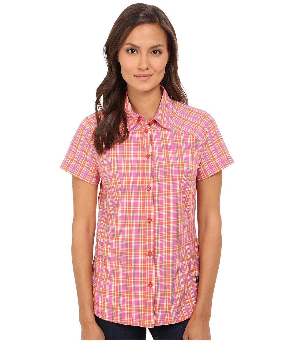 Jack Wolfskin Rock Chill Flex Shirt Pink Lemonade Checks Womens Clothing