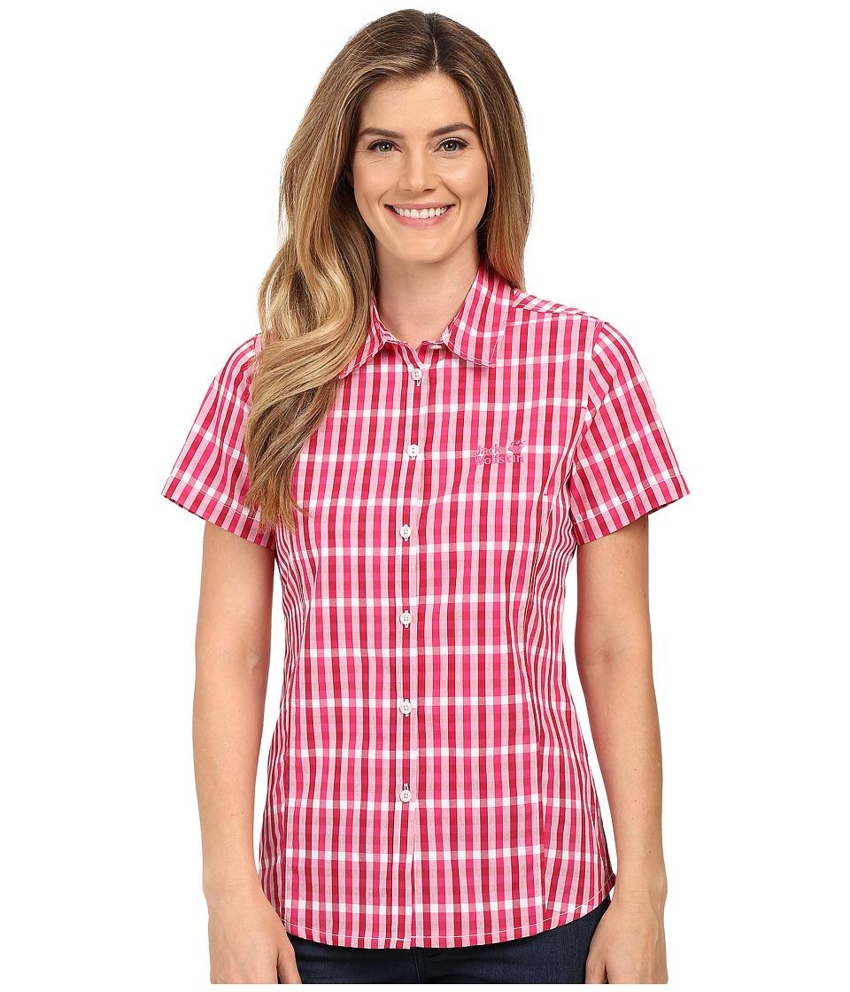 Jack Wolfskin River Shirt Pink Raspberry Checks Womens Clothing