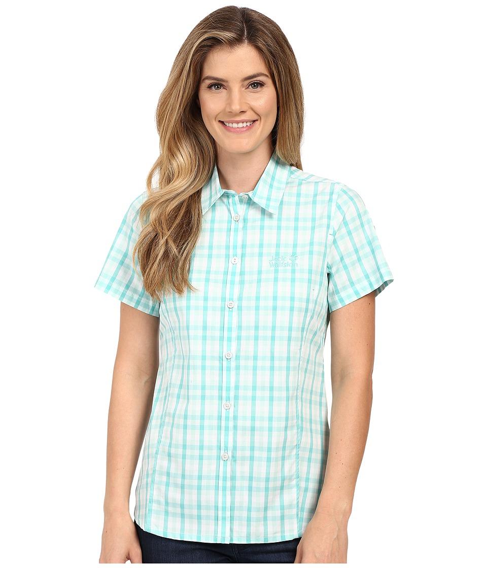 Jack Wolfskin River Shirt Pool Blue Checks Womens Clothing