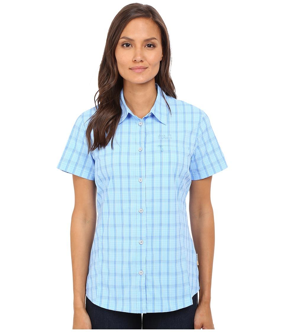 Jack Wolfskin Centaura Stretch Vent Shirt Air Blue Checks Womens Clothing