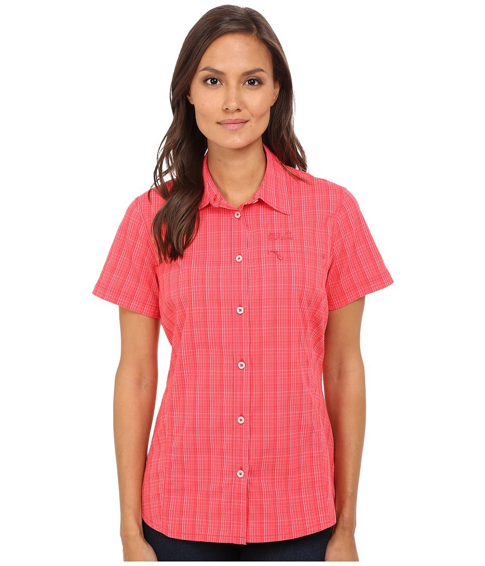 Jack Wolfskin Centaura Stretch Vent Shirt Hibiscus Red Checks Womens Clothing