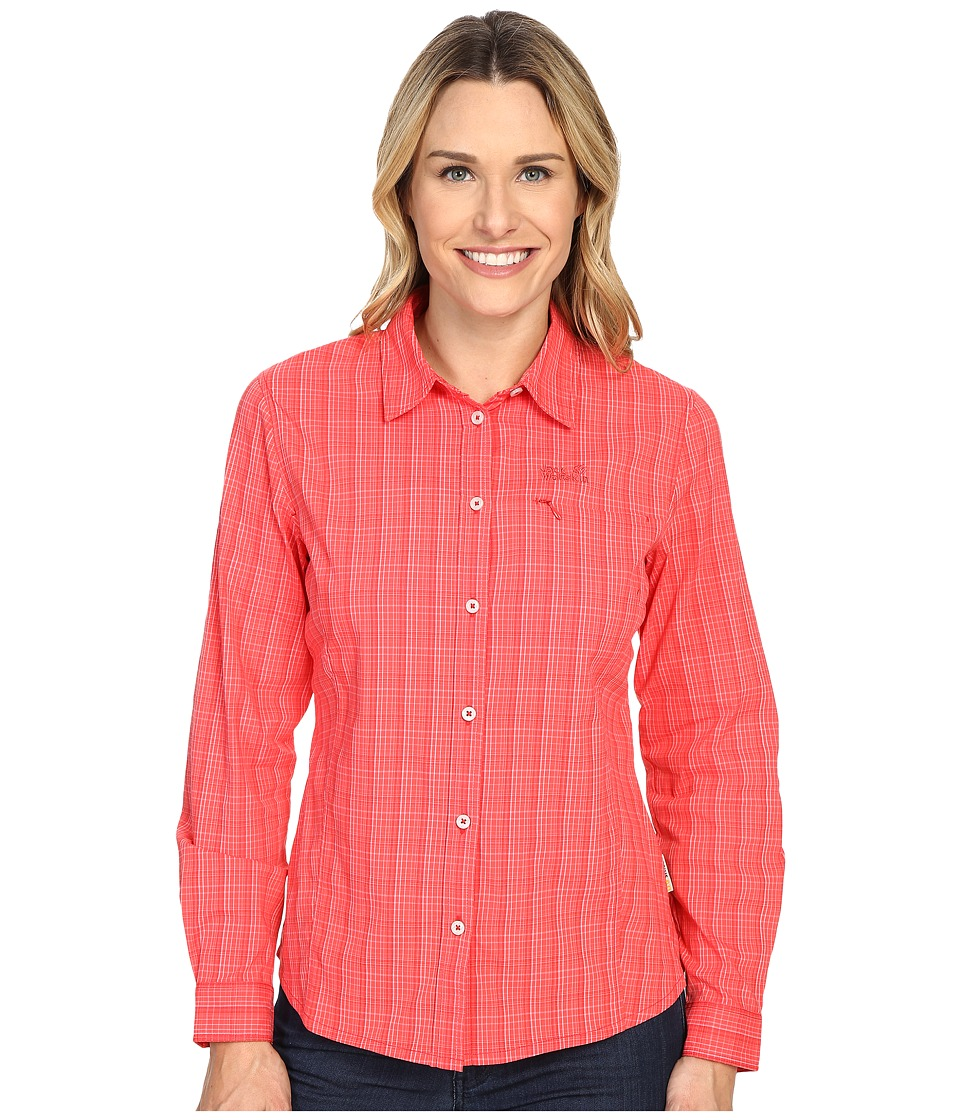 Jack Wolfskin Centaura Flex Shirt Hibiscus Red Checks Womens Clothing