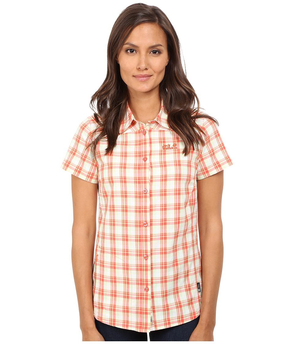 Jack Wolfskin Rock Chill Flex Shirt Watercress Blossom Checks Womens Clothing