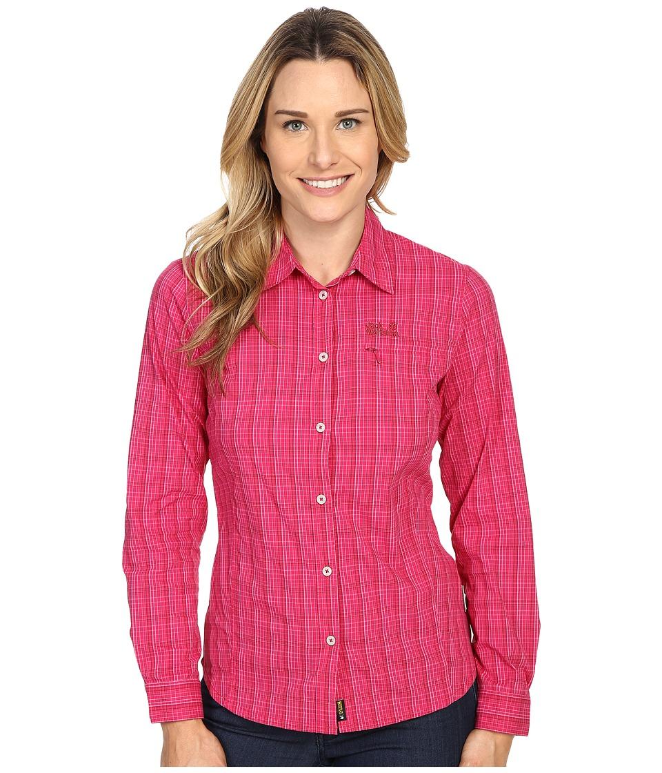 Jack Wolfskin Centaura Flex Shirt Azalea Red Checks Womens Clothing