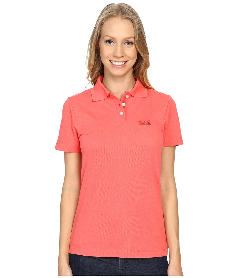 Jack Wolfskin Pique Function 65 Polo Grapefruit Womens Clothing