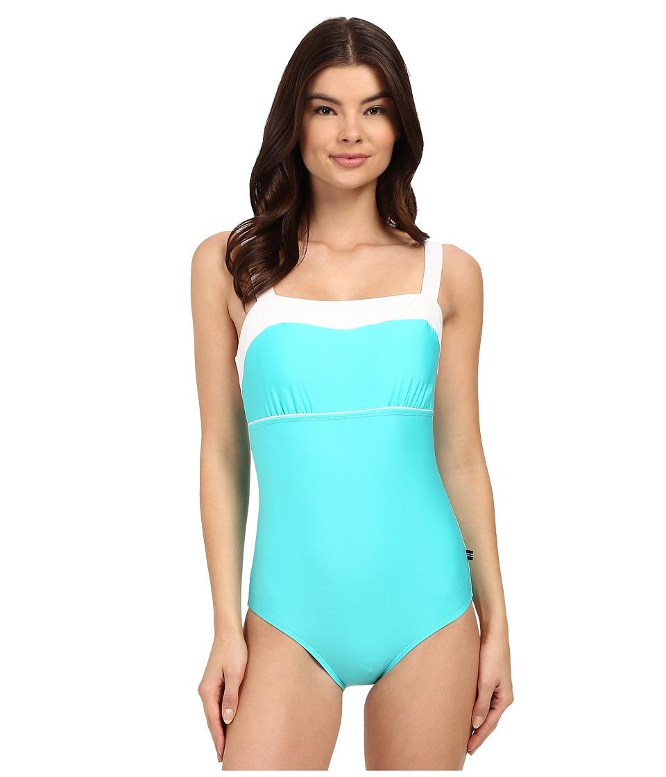 Nautica Signature Classic Soft Cup One Piece NA27556 Aqua Womens Swimsuits One Piece