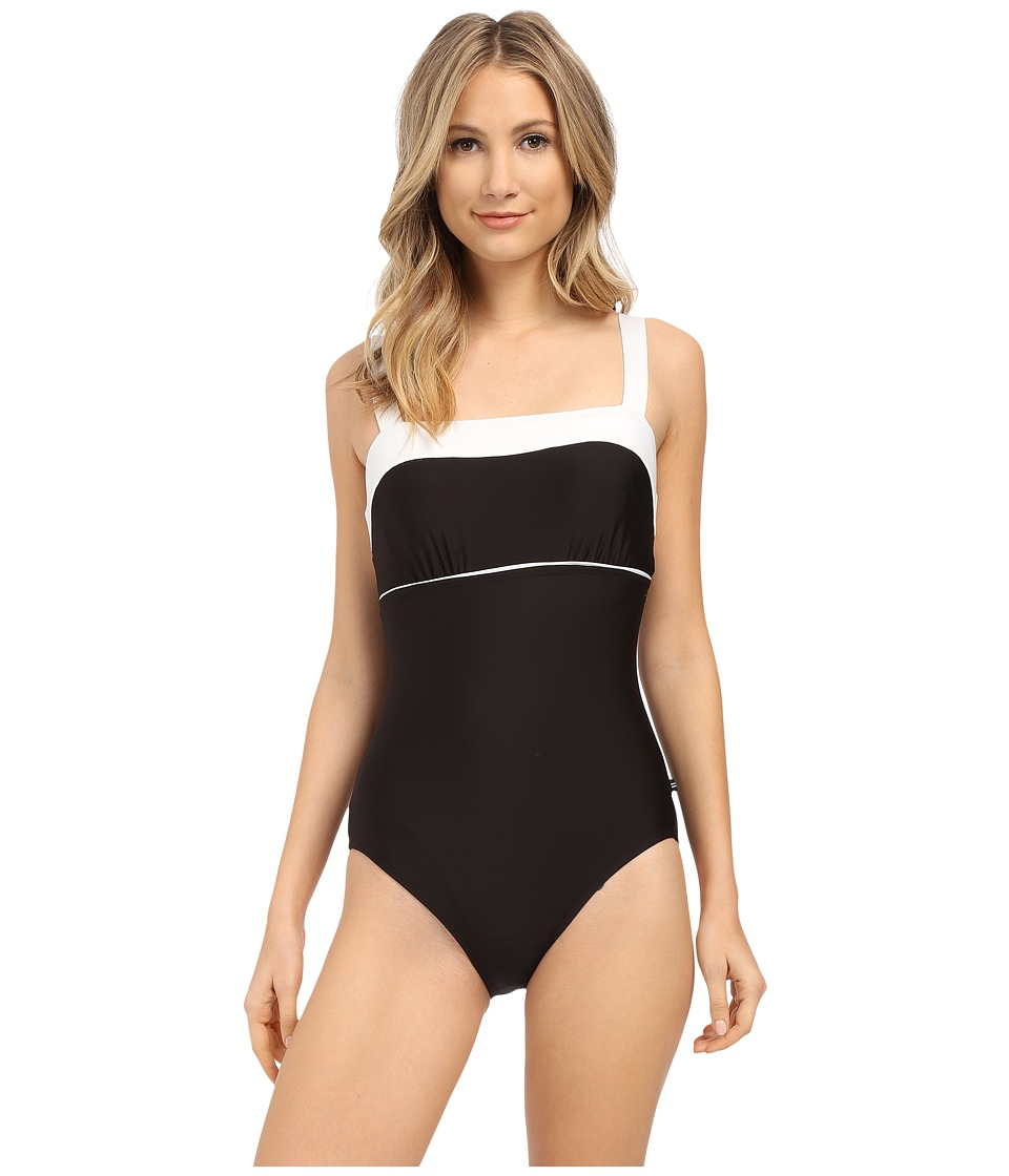 Nautica Signature Classic Soft Cup One Piece NA27556 Black Womens Swimsuits One Piece